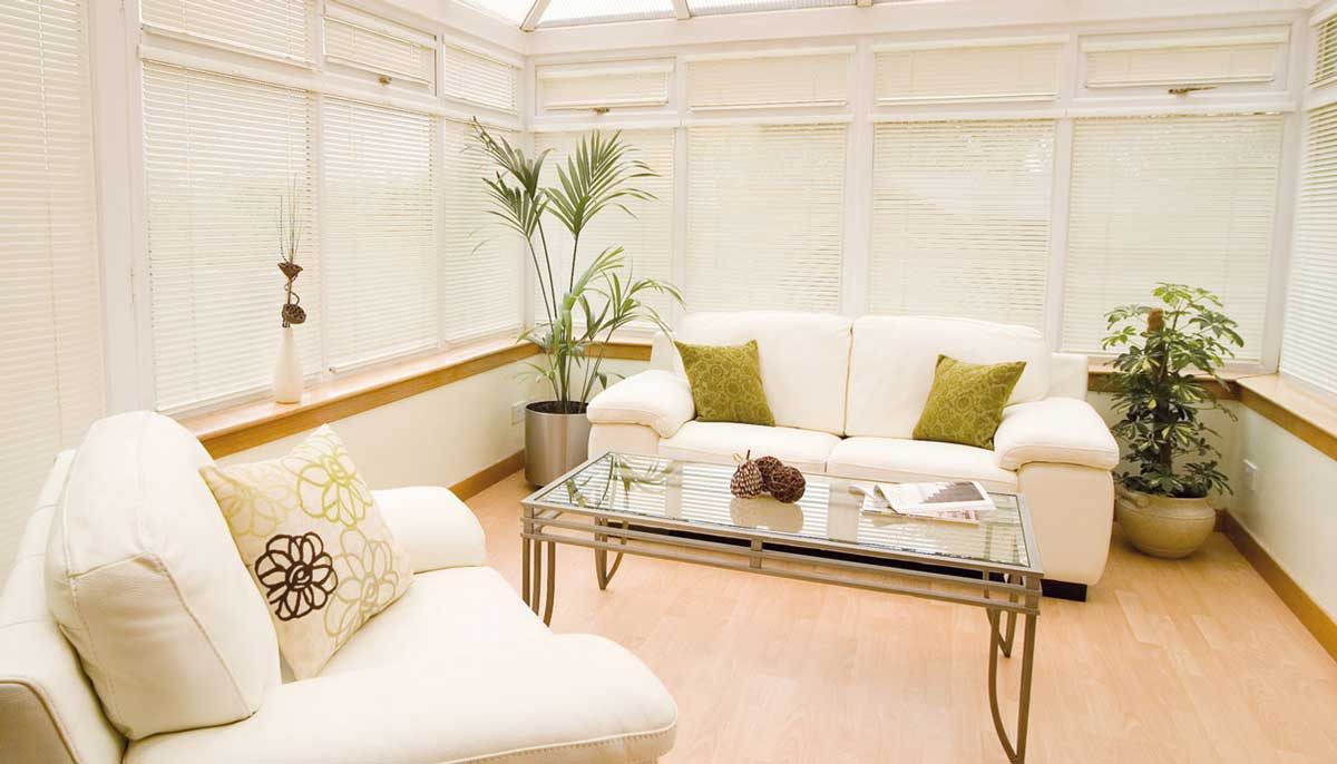 conservatory blinds in white