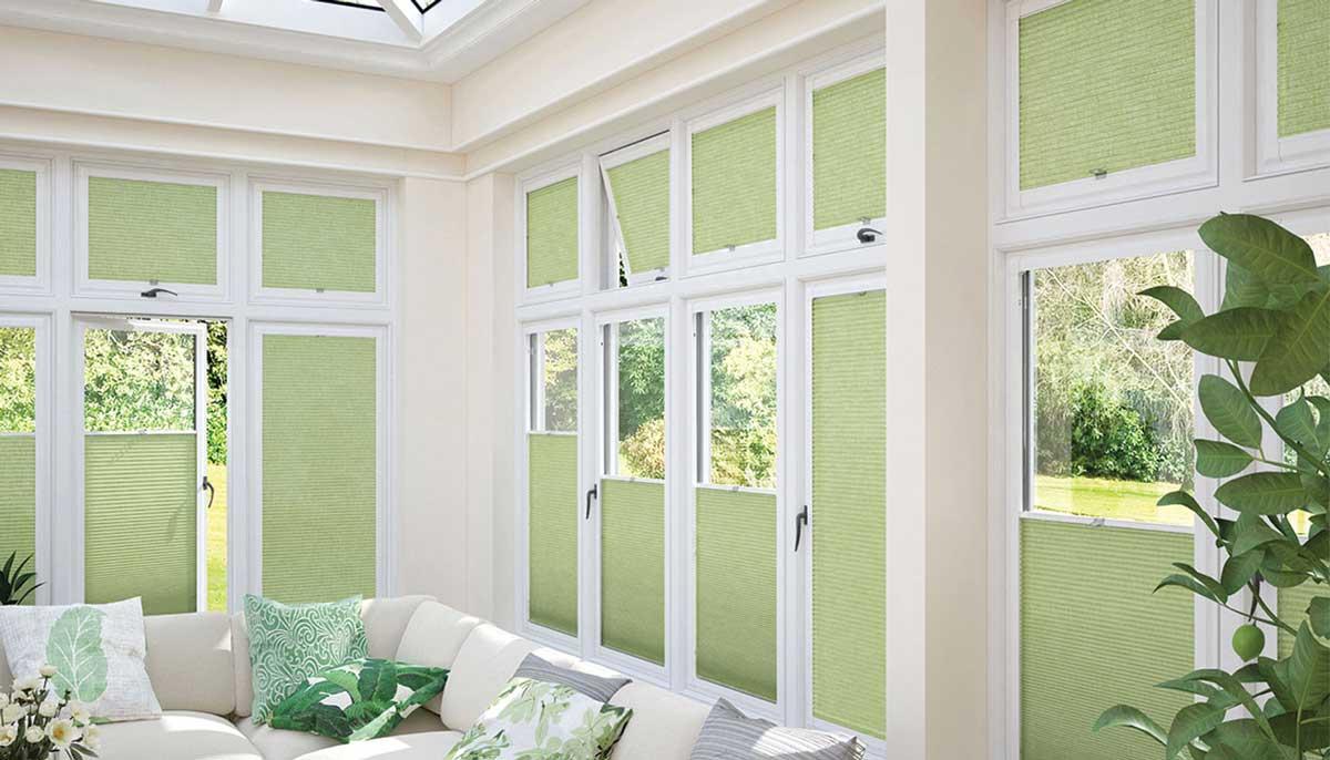 light green conservatory blinds