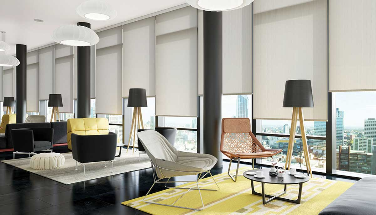 white commercial blinds
